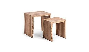 Set 2 mesas auxiliares acacia natural Kairy