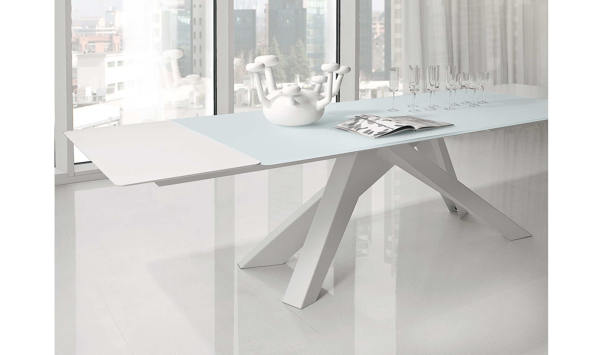 Mesa de comedor extensible cristal Big Table Bonaldo en ...