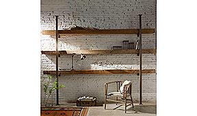 Librería industrial madera reciclada y metal Jácenas
