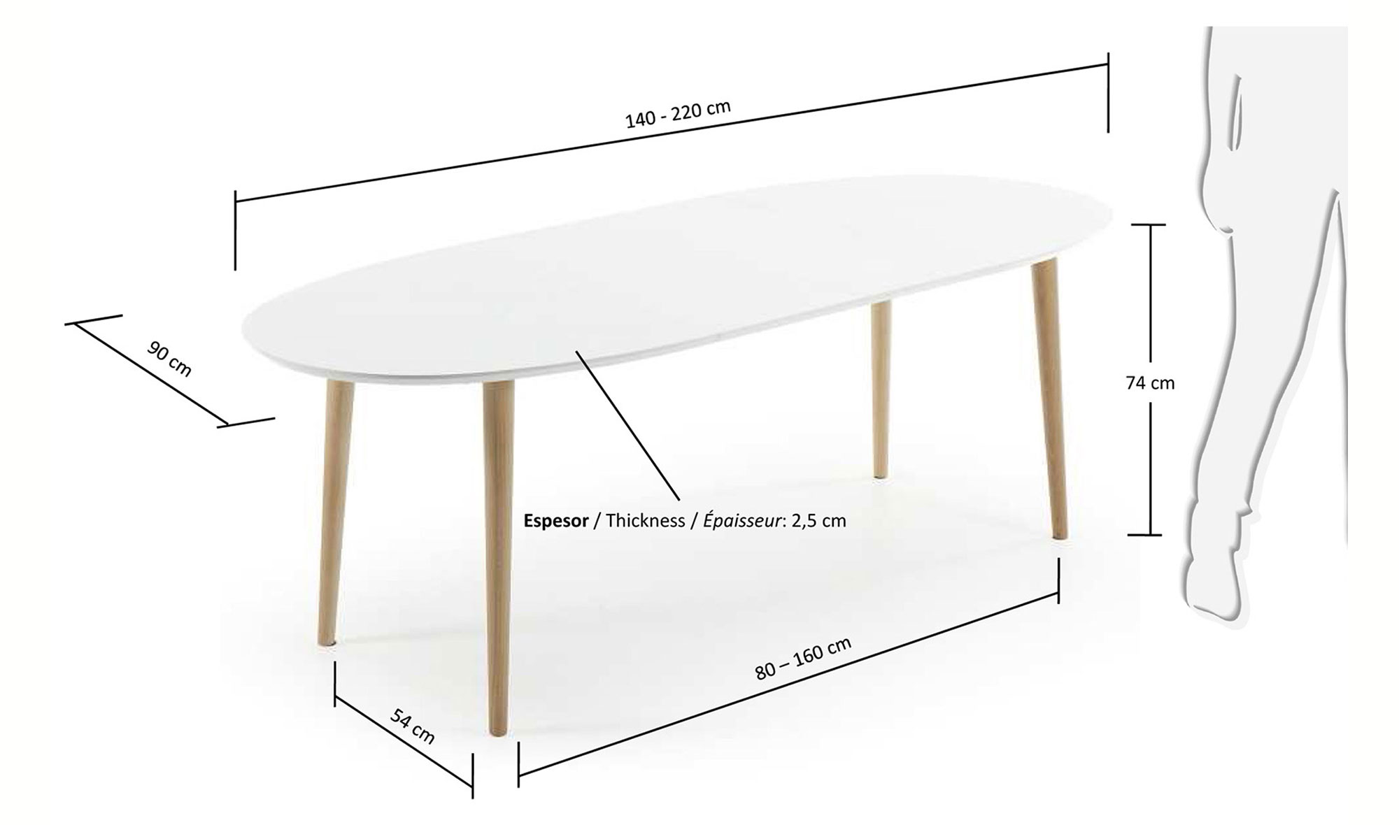 Mesa de comedor ovalada extensible 140 nórdica Oqui en ...