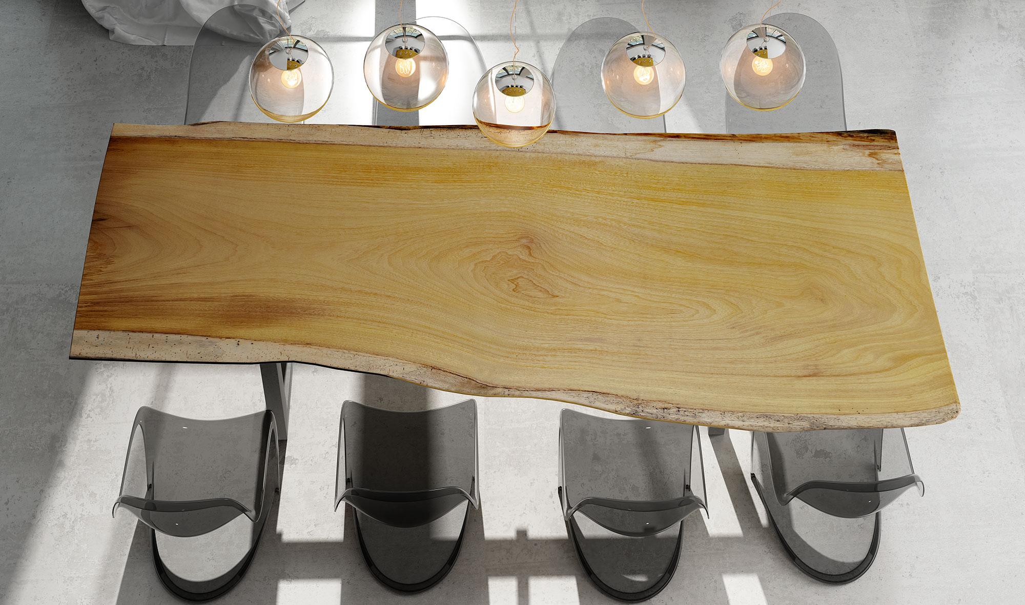Mesa de comedor madera maciza iroko Arges de lujo en ...