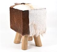 Taburete cuadrado 4 patas piel de cabra