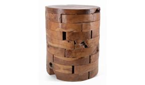 Taburete troncos horizontales teca