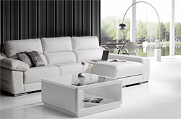 Sofa piel blanca Diamond chaise longue
