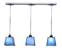 Lámpara de techo regleta 3 luces azul
