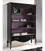 Libreria negra vintage con la trasera violeta Carlotta