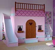 Dormitorio infantil casita tobogán