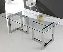 Mesa de cristal y acero inox en T