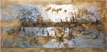 Cuadro abstracto ocre y plata