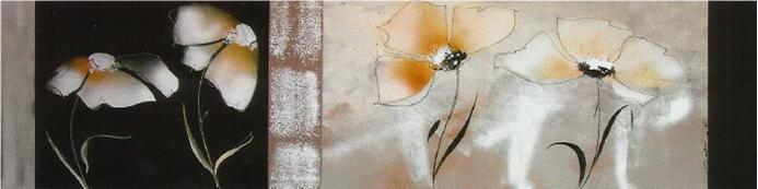 Muebles Martin Peñasco:  Cuadro flores blancas apaisadas - Cuadros serigrafiados - Objetos de Decoración
