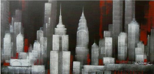 Cuadro new york blanco negro rojo en - Decoracion blanco negro rojo ...
