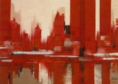 Cuadro new york rojo-beige