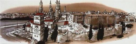 Cuadro Zaragoza muralla