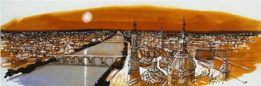 Cuadro Zaragoza cenital naranja