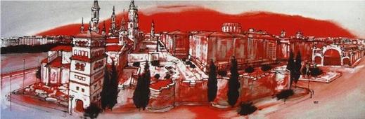 Cuadro Zaragoza muralla rojo