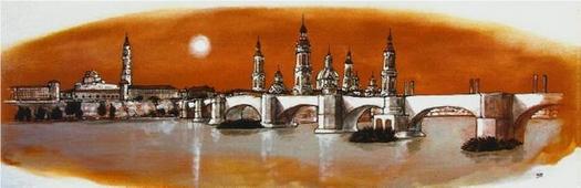 Cuadro Zaragoza puente naranja