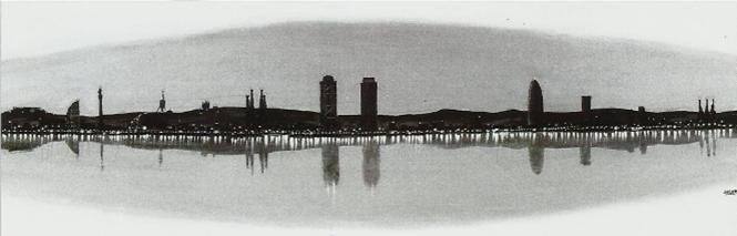 Cuadro barcelona skyline en - Muebles japoneses barcelona ...