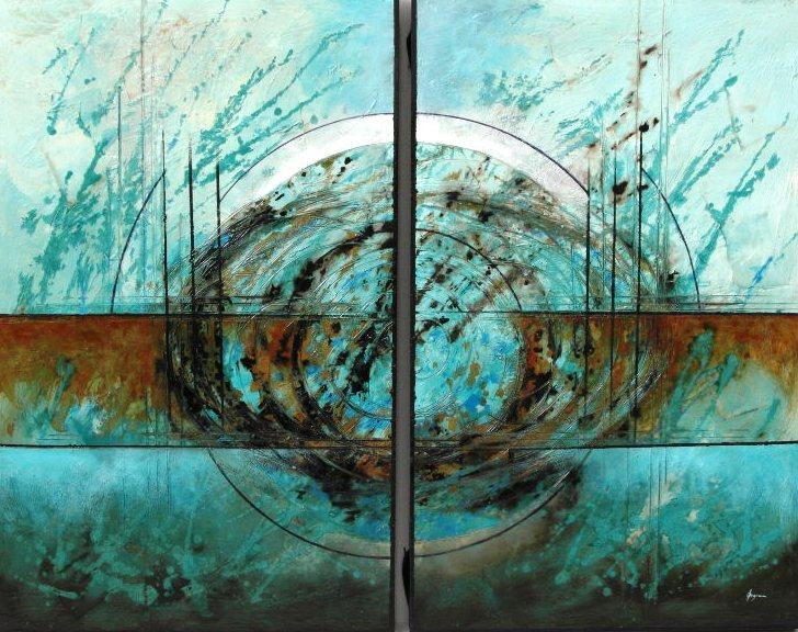 Cuadro abstracto diptico azul cerulero en Portobellostreet.es
