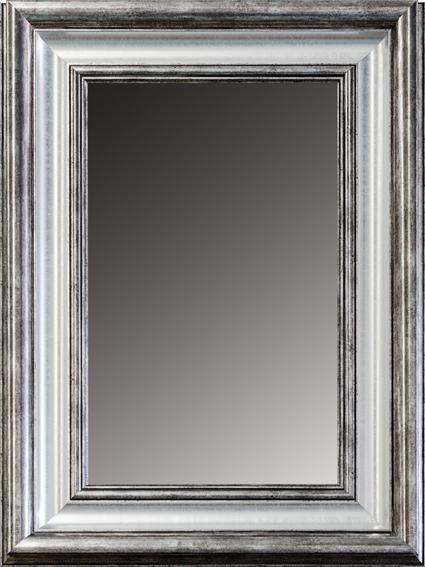 Espejo rectangular plata y gris en for Espejo gris plata