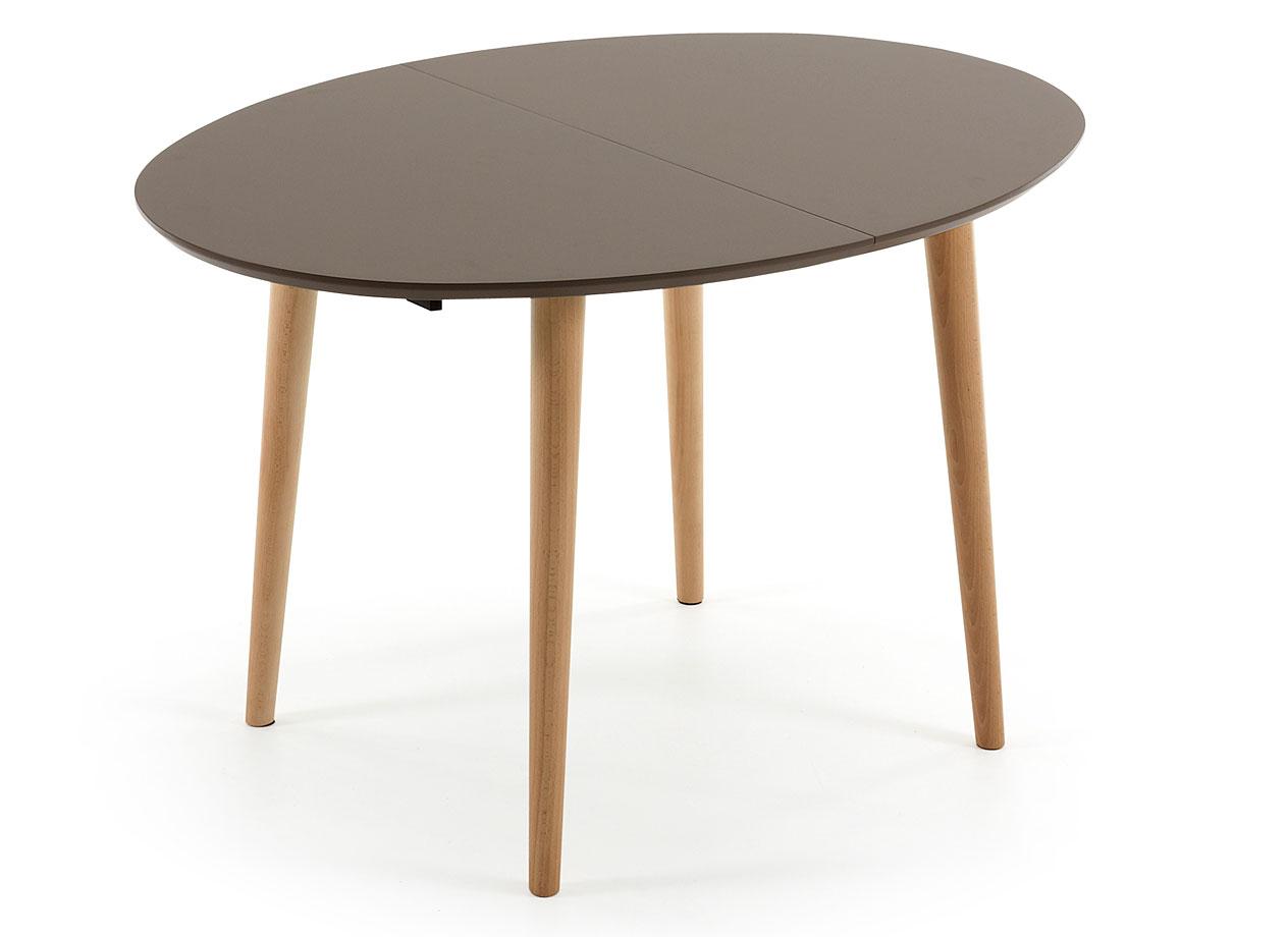 Mesa de comedor ovalada marrón nórdica Oqui en Portobellostreet.es