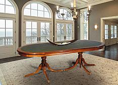 Mesa de juntas doble pedestal ovalada clásica