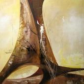 Cuadro Abstracto Ocre IV - Cuadros serigrafiados - Objetos de Decoración