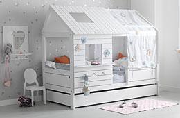 Cama cabaña Infantil Silversparkle pino blanqueado