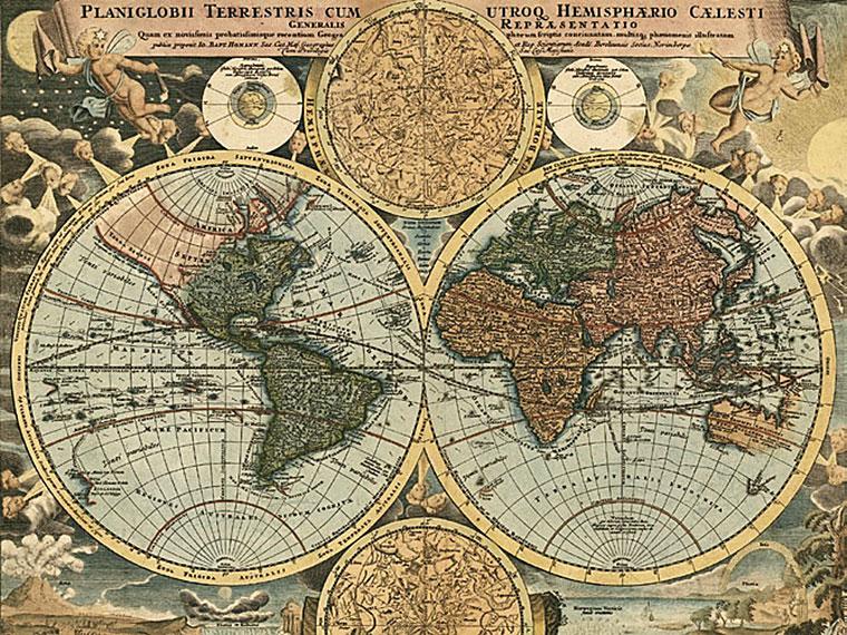 Cuadro canvas mapa globo terraqueo 1716 en Portobellostreet.es