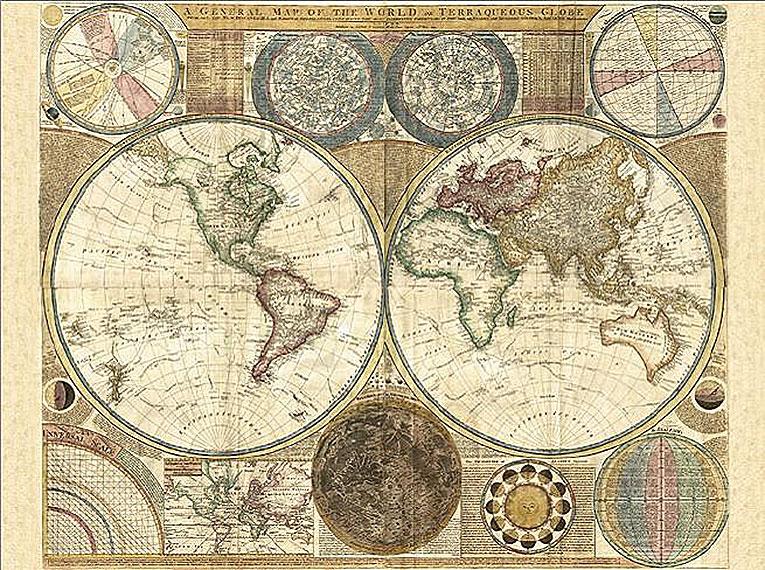 Cuadro canvas mapa globo terraqueo 1794 en Portobellostreet.es