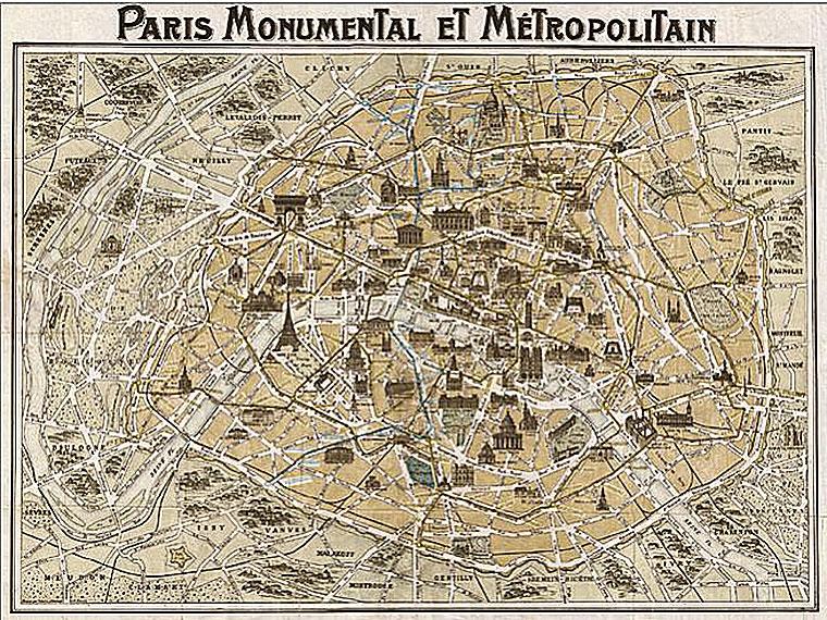 Cuadro canvas mapa metropolitano de paris 1932