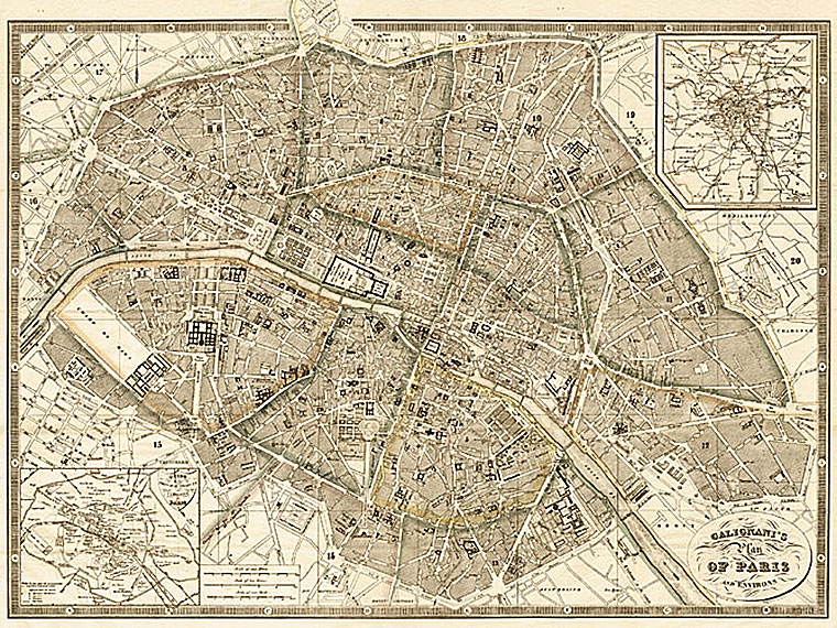 Cuadro canvas mapa de paris y alredededores 1865
