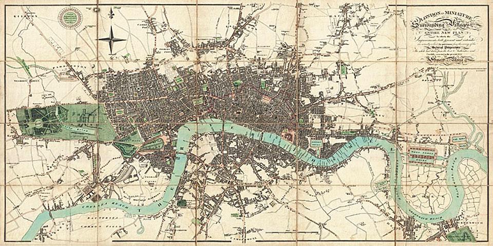 Cuadro canvas mapa de Londres 1806