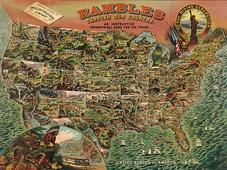 Cuadro canvas mapa geografico antiguo america 1890 - Cuadros serigrafiados - Objetos de Decoración