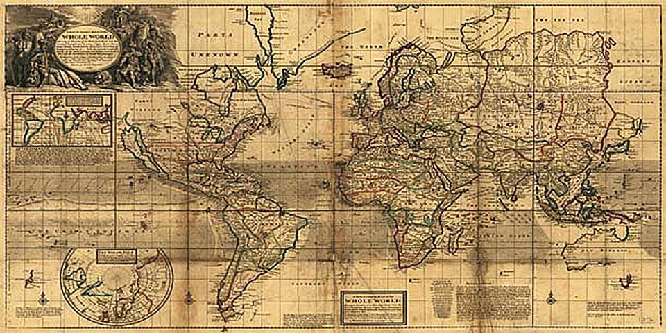 Cuadro canvas mapa mundi 1719