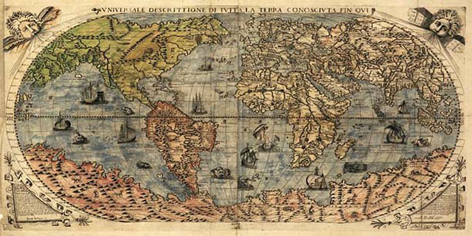 Cuadro canvas mapa mundi geografico 1565