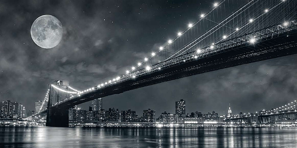 Cuadro canvas brooklyn bridge at night new york