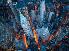 Cuadro canvas aerial view of wall street