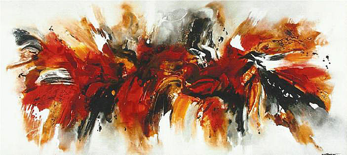 Cuadro abstracto bjorn rojo en for Imagenes de cuadros abstractos rusticos