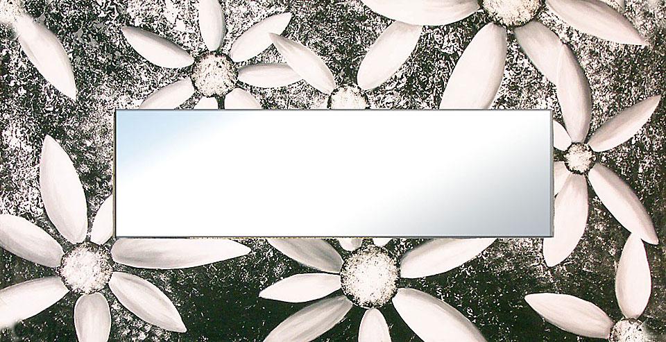 Espejo artesanal margaritas blanco y negro