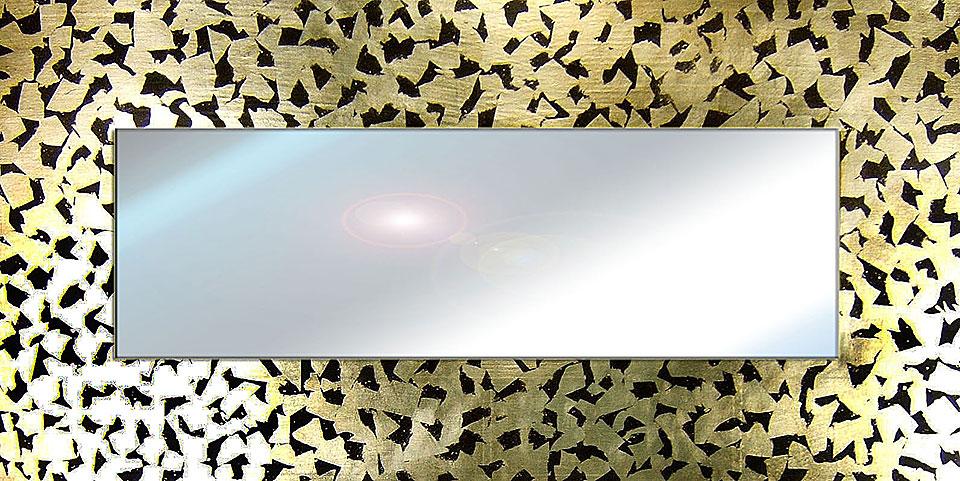 Productos similares a Espejo artesanal trozos oro disponibles en