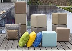 Pouf cuadrado de jardín Cube - Bancos y Taburetes Jardín - Muebles de Jardín