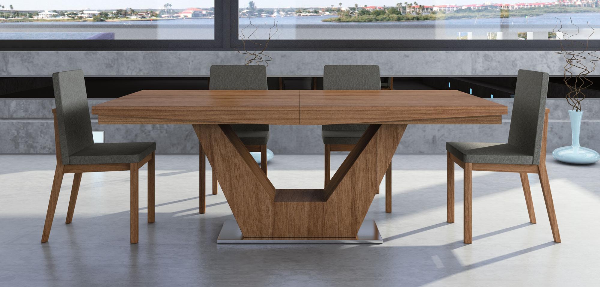 Mesa comedor extensible moderna verona en cosas de for Disenos de mesas de vidrio para comedor