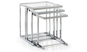 BLAIR set 3 mesas cromado cristal transparente  - Mesas de Centro de Diseño - Muebles de Diseño