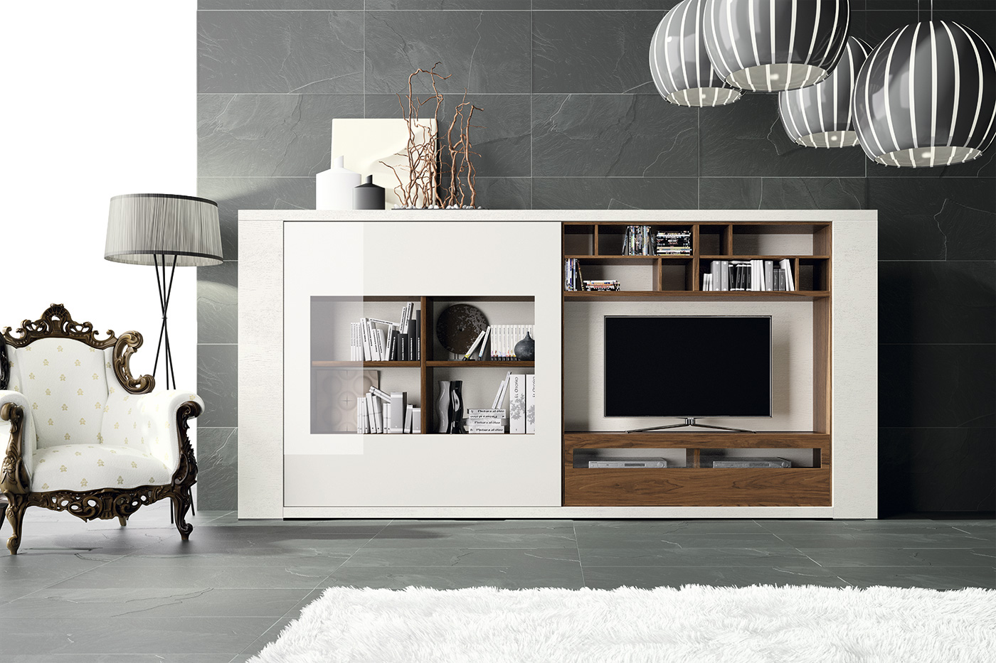 Mueble de tv compacto exclusive en for Muebles para tv conforama