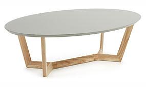 SURF Mesa Centro Fresno Lacado Mate Gris Claro L14 - Mesas de Centro de Diseño - Muebles de Diseño
