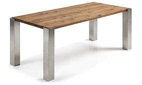 Mesa de comedor patas acero y roble natural
