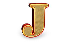 Aplique letra J amarillo