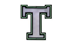 Aplique letra T verde