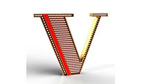 Aplique letra V rojo