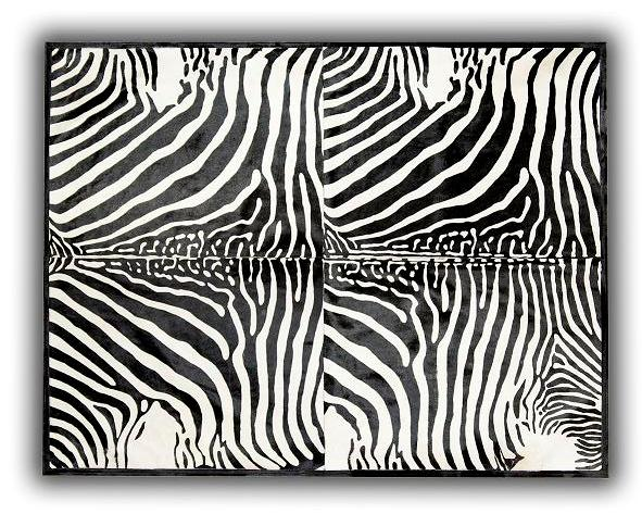 Alfombra piel toro impreso Cebra 4 piezas 140x200c